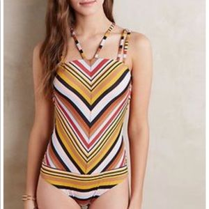 NWOT Anthropologie Strapwork One-Piece Swimsuit S